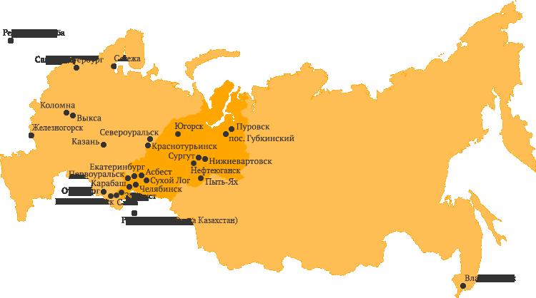 География обслуживания компании Ремтягсервис